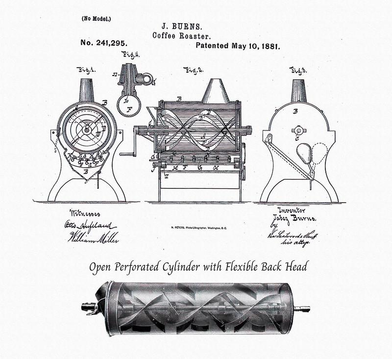 Bằng sáng chế máy rang cà phê của Jabez Burns vào Năm 1864